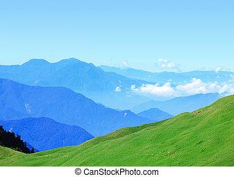Green mountain with beautiful blue sky shot in taiwan, asia
