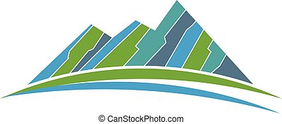 Green mountains and road logo. Vector graphic design