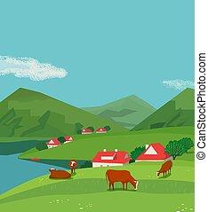 Green mountains landscape