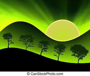 Neon Colored Sun Green Mountains and Silhouetted Trees