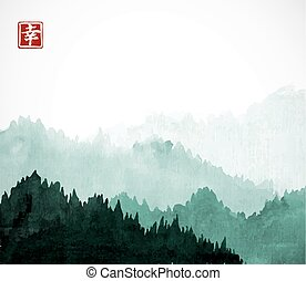 Green Mountains with forest trees in fog. Contains hieroglyph - happiness. Traditional oriental ink painting sumi-e, u-sin, go-hua.