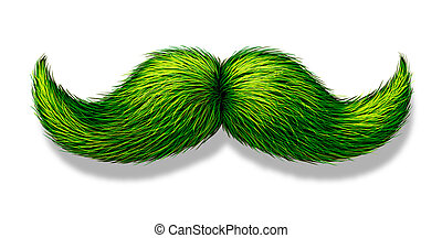 Green Moustache - Green moustache or mustache on a white...
