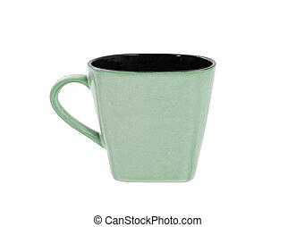 Green mug isolated on white background