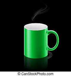 Green mug on black background
