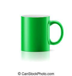 Green mug on white