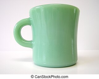 Green Mug - Vintage green glass Fire King Restaurant Ware...