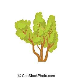 Green multi stemmed tree icon, cartoon style