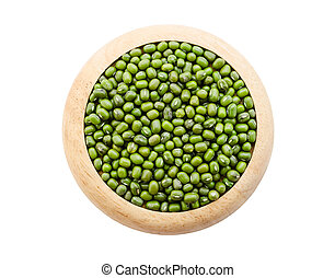 Green mung beans seeds in wooden dish.