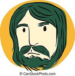 Green Mustache man