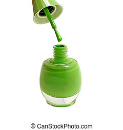 green nails polish bottles isolated on white