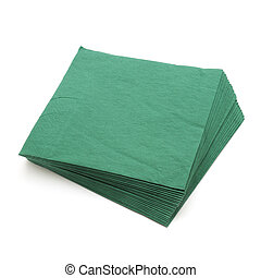green napkins isolated on a white background...