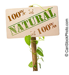green natural and bio sign - 100 percent natural sign ...