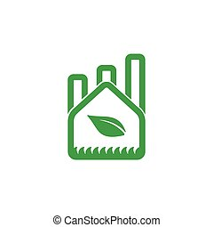 green natural factory symbol logo