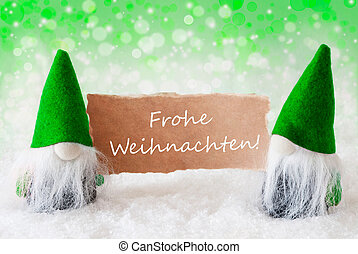 Green Natural Gnomes With Card, Frohe Weihnachten Means...