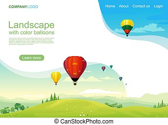 Green natural landscape with color balloons landing page