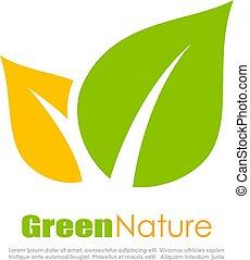 Green natural leaf logo