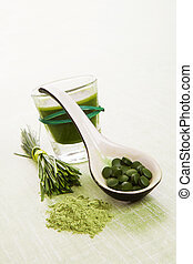 Green natural superfood. - Wheat grass, barley grass, ...