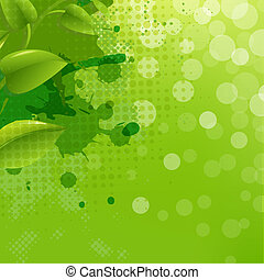Green Nature Background With Blur Blob And Leaf, Vector...