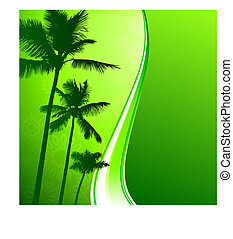 green nature background with palm trees
