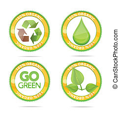 green nature eco emblems set isolated