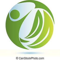 Green nature health people logo vector