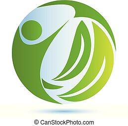 Green nature health people logo vector