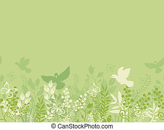 Green nature horizontal seamless pattern background border -...