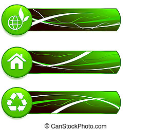 Green Nature Icons on Internet Buttons with Banners Original...