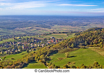 Green nature in region of Prigorje, Croatia, view from...