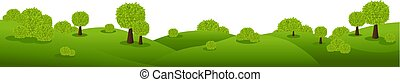 Green Nature Landscape Isolated White Background