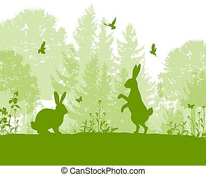 Green nature landscape with rabbits