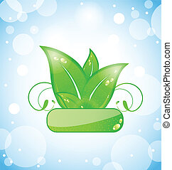 green nature leaves on blue background
