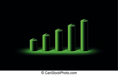 Green neon 3D battery charge level indicator. Realistic set of batteries from the small to the big in neon light on a black background