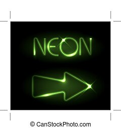 Green neon arrow