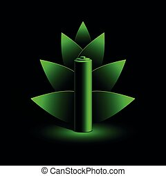Green neon battery and branch of leaves illustration in neon light on a black background.