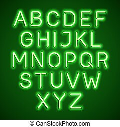 Green neon light glowing alphabet
