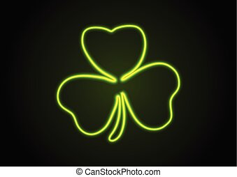 Green neon shamrock clover abstract background