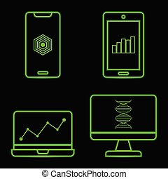 Green neon technology icons on black background