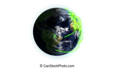 Green network on a shaded and cloudy Earth with a grid with...