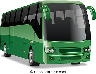 comfortable city bus - green new modern comfortable city bus...