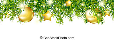 Green New Year Garland, Isolated On White Background, Vector...