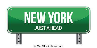 green New york, USA street sign illustration design over...