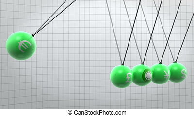 Swinging green newton pendulum with different currencies on it
