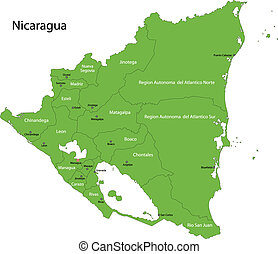 Green Nicaragua map with department borders