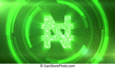 Green Nigerian naira currency symbol on space background with circles. Seamless loop.