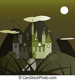 Green night castle landscape