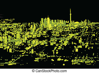 Green Night Toronto - Abstract skyline silhouette of the...