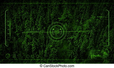 Green Night Vision POV Flying Past Mountainside -...