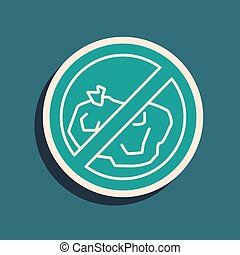 Green No trash icon isolated on green background. Long shadow style. Vector Illustration