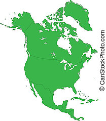 Green North America map with country borders